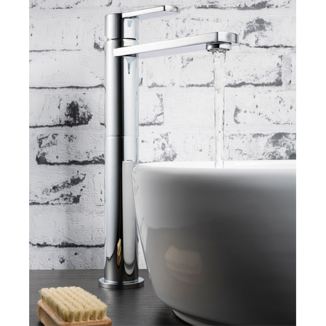 Tall Basin Mixer Tap For Use With Countertop Basins