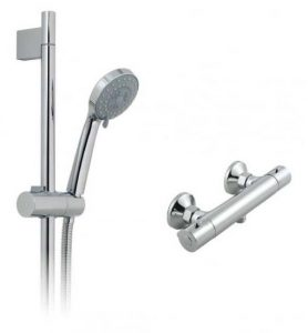 Round Bar Shower With Riser Rail Kit