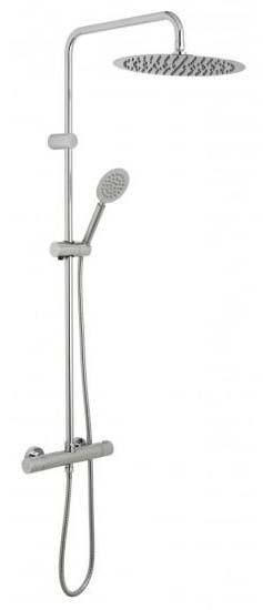 Round Bar Shower With Fixed Rigid Riser & Hand Shower