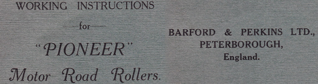 B&P Motor Roller Operating Instructions 1926