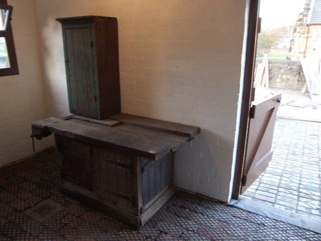 A workbench for the tack room. Recently collected this bench originally came from the workshops of Shotton Colliery.
