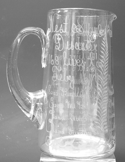 Commemorative glass jug for the Seaham Harbour Colliery Disaster, West Stanley Disaster and Washington Colliery Disaster