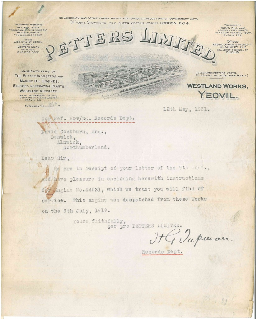Letter from Petter's Westland Works, Yeovil