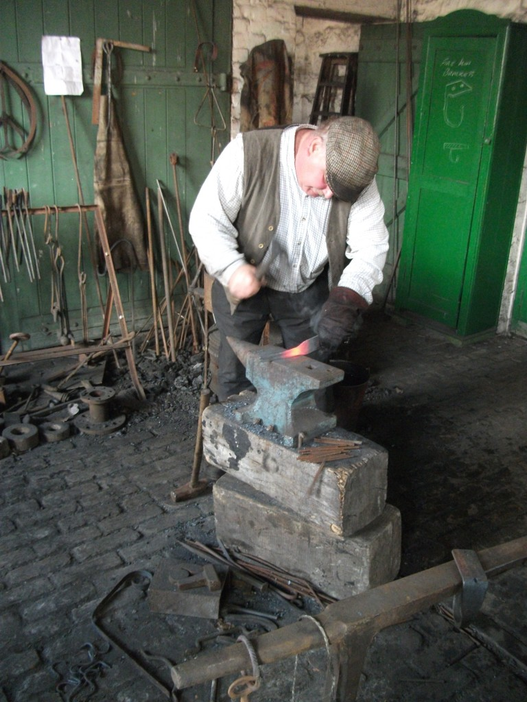 Colliery Blacksmith John giving demonstrations in the Colliery Engine Shed.