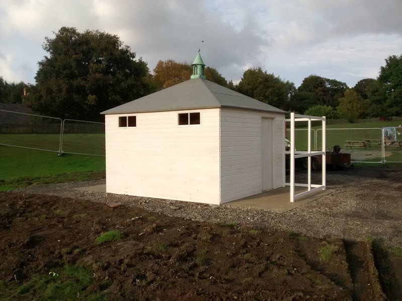 Toilet block almost complete with roof vent and wings, which will be clad to protect modesty