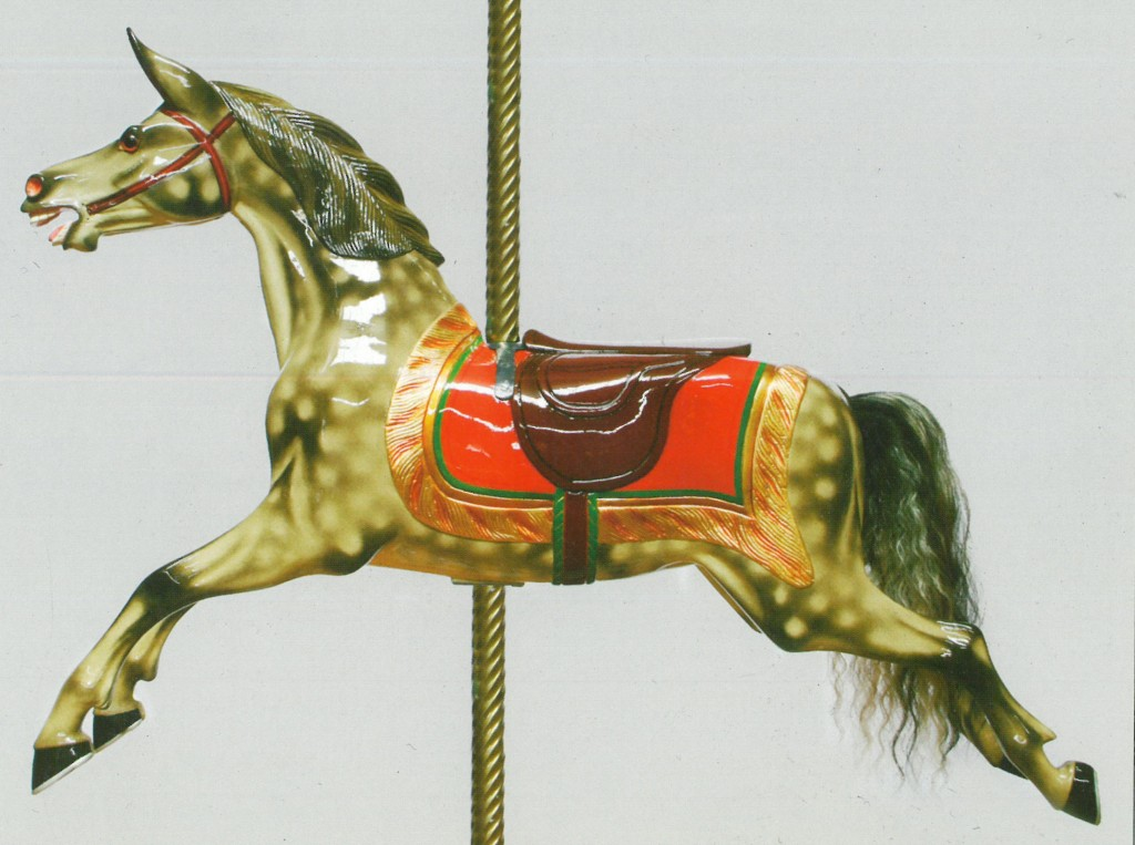 A picture of a 'Lines' Horse in a traditional style which shows the dappling we will recreate.