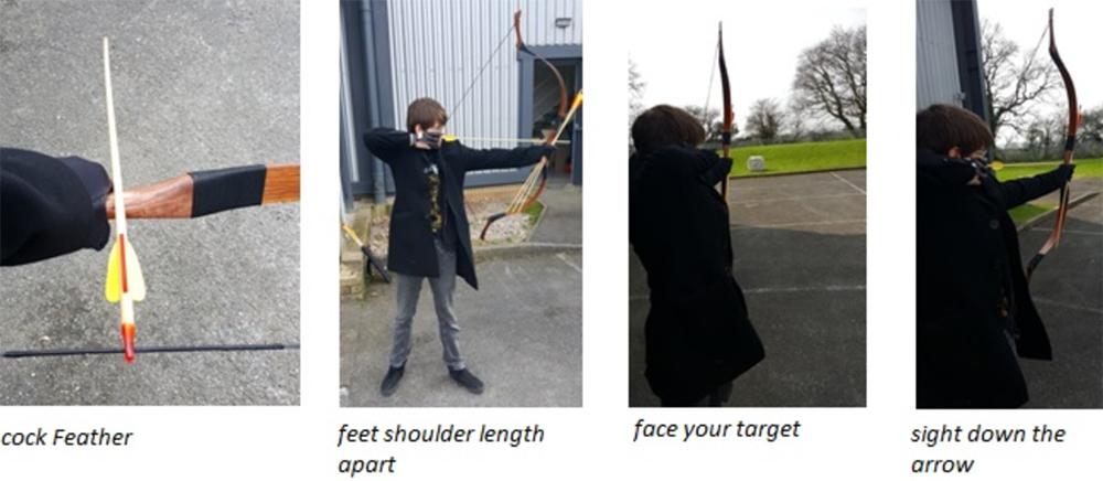 Firing a bow and arrow