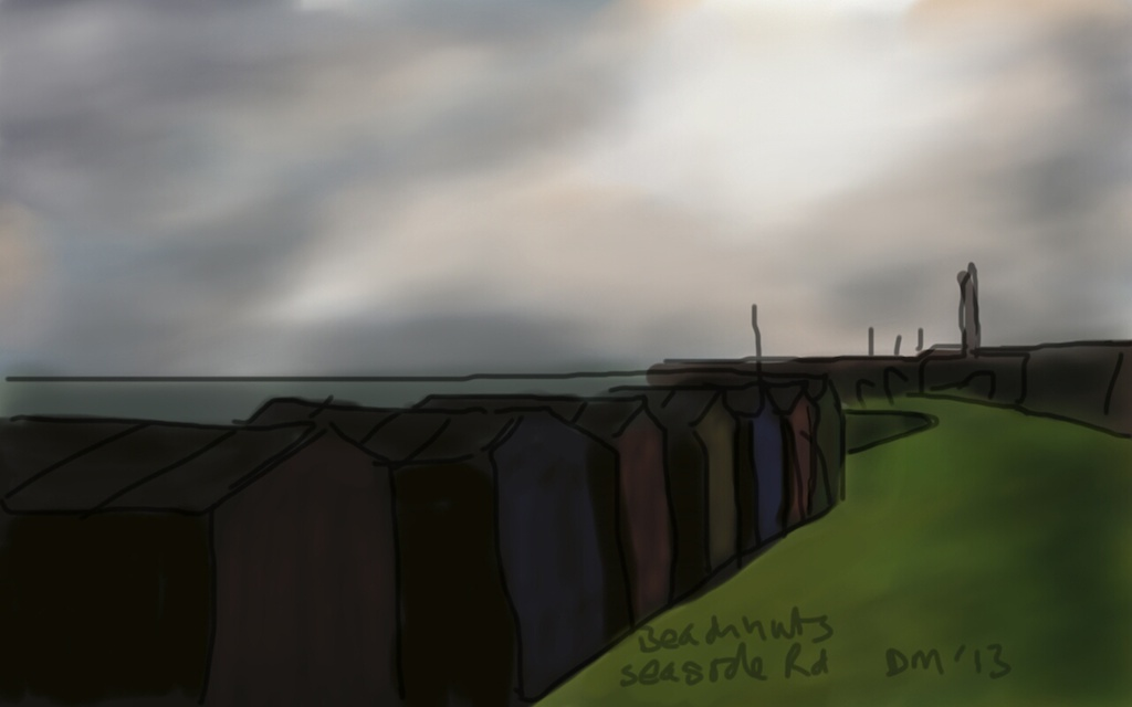 Danny Mooney 'Beach huts, Seaside Road' Digital drawing