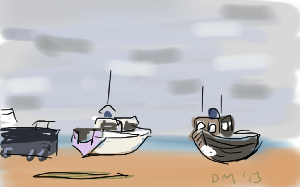Danny Mooney 'Boats on the beach Hastings' Digital drawing