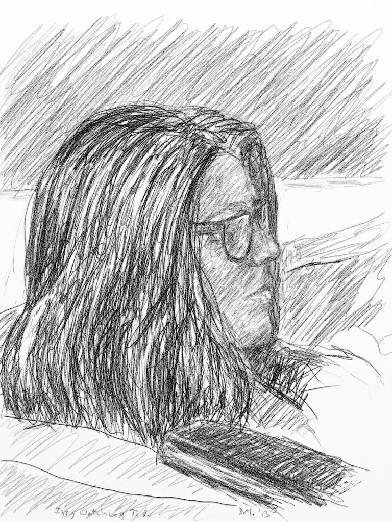 Danny Mooney 'Izzy watching TV 7.3.13' Digital drawing