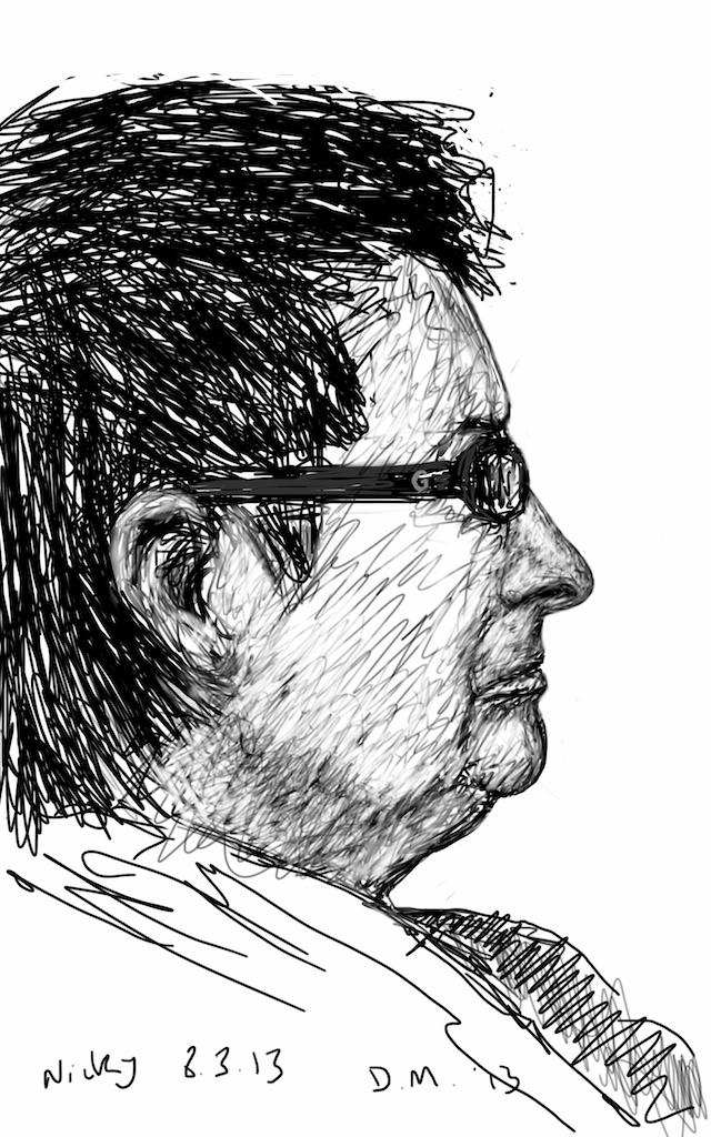 Danny Mooney 'Nicky watching TV 8.3.13' Digital drawing