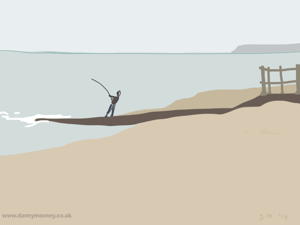 Danny Mooney 'Fishing, 2/5/2014' iPad painting