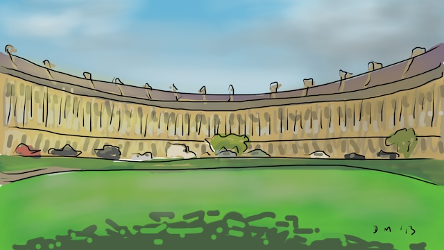 Danny Mooney 'Royal Crescent, Bath' Digital painting