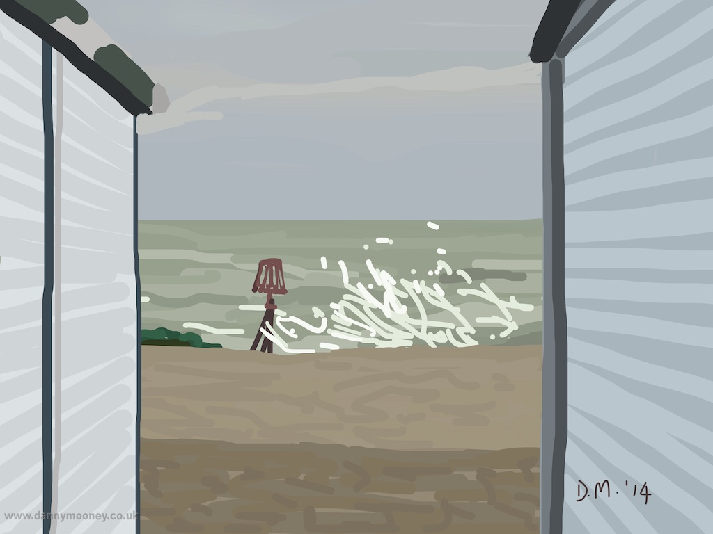 Danny Mooney 'Beach hut view, 22/12/2014' iPad painting #APAD