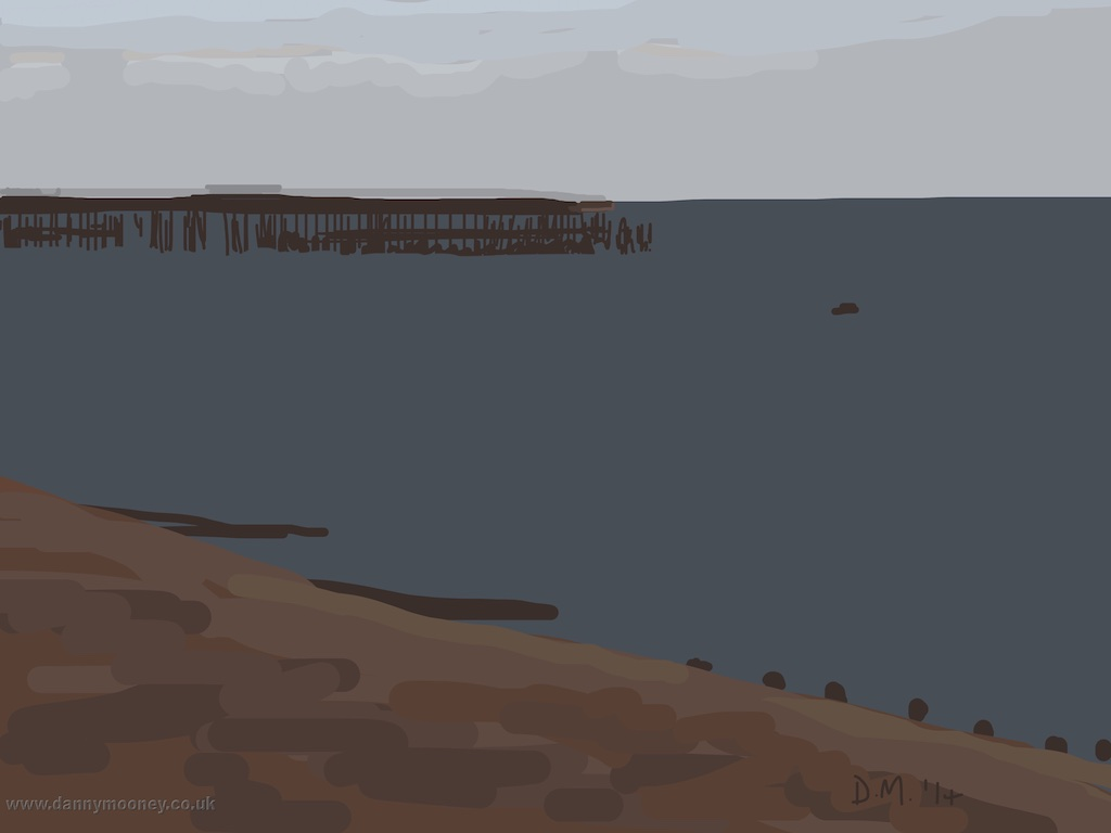 Danny Mooney 'Flat dark sea, 15/12/2014' iPad painting #APAD
