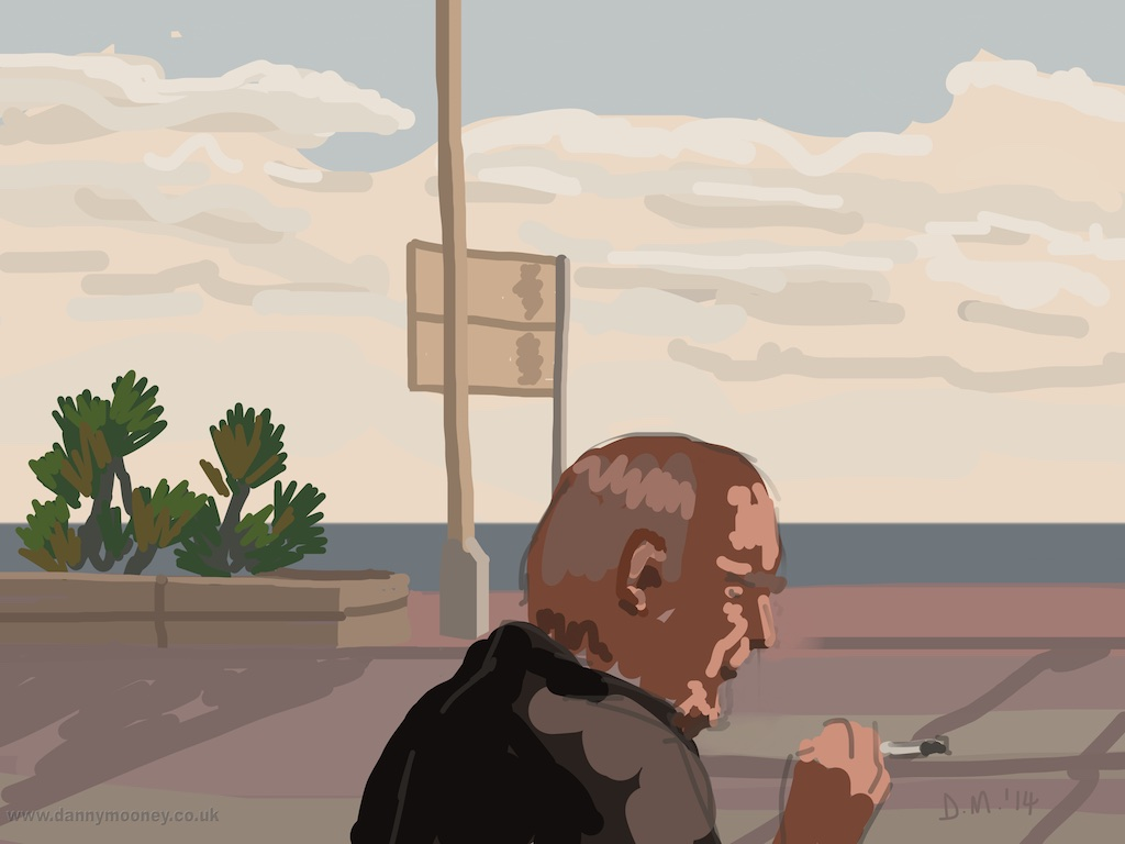 Danny Mooney 'Quick fag in the sun, 28/12/2014' iPad painting #APAD