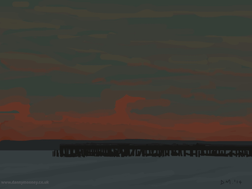 Danny Mooney 'Sunset over the pier, 29/12/2014' iPad painting #APAD