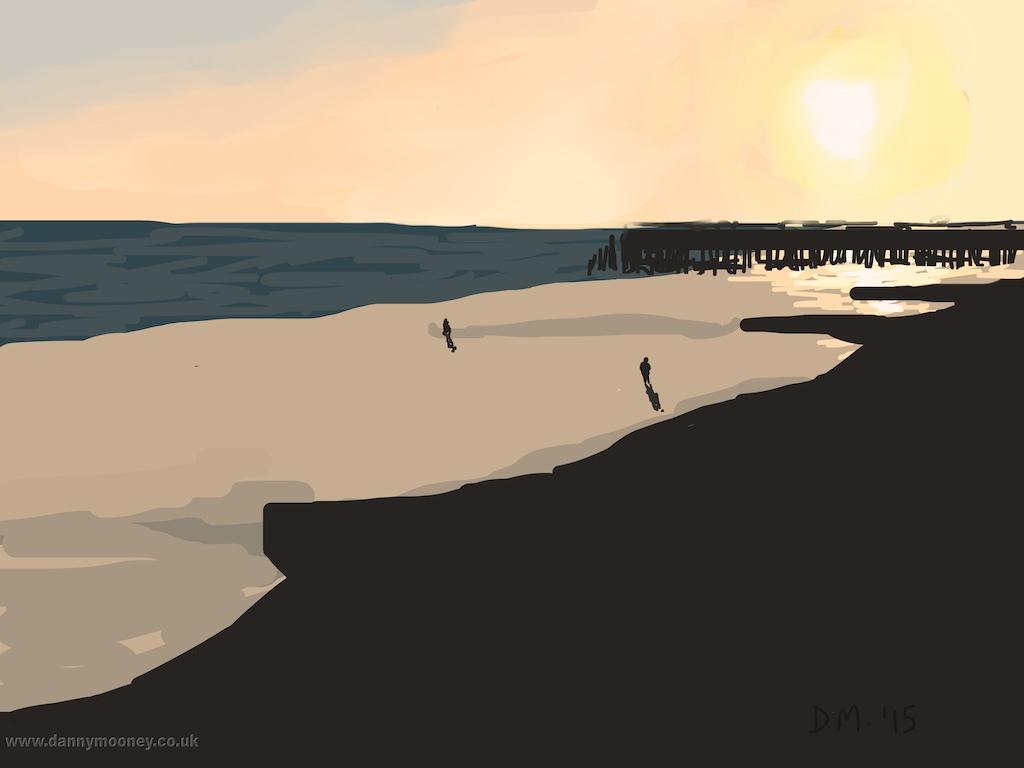 Danny Mooney 'Sunset on the beach, 2/1/2015' iPad painting #APAD