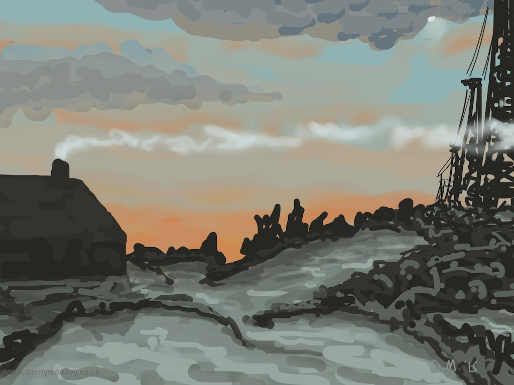 Danny Mooney 'Train, cold morning, 7/1/2015' iPad painting #APAD