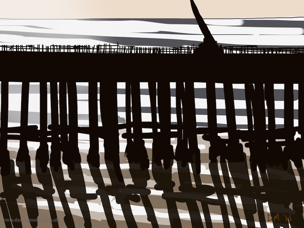 Danny Mooney 'Morning sun behind The Pier, 6/2/2015' iPad painting #APAD