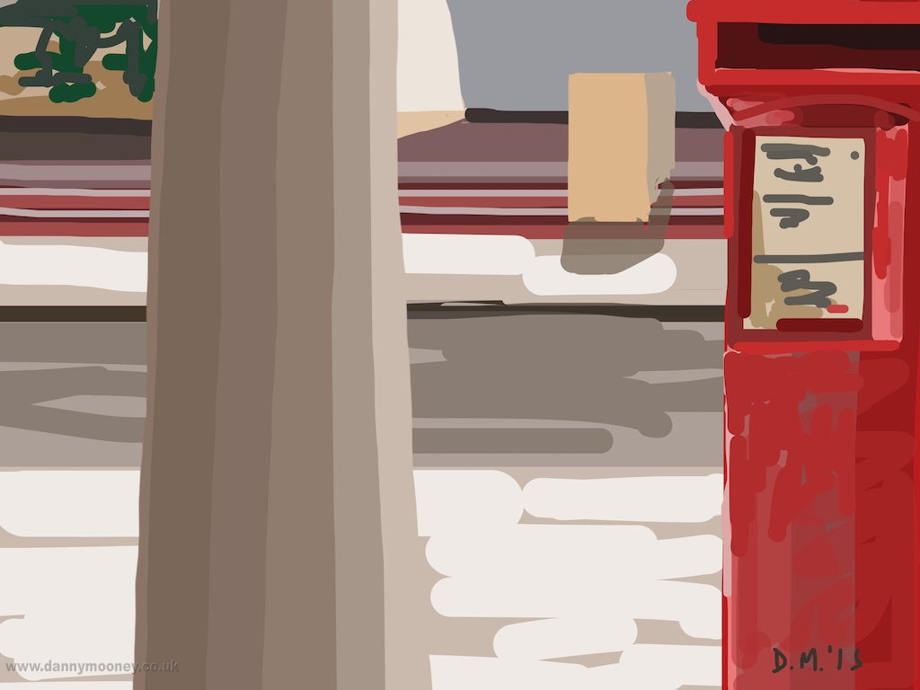 Danny Mooney 'Pillar and postbox, 30/3/2015' iPad painting #APAD