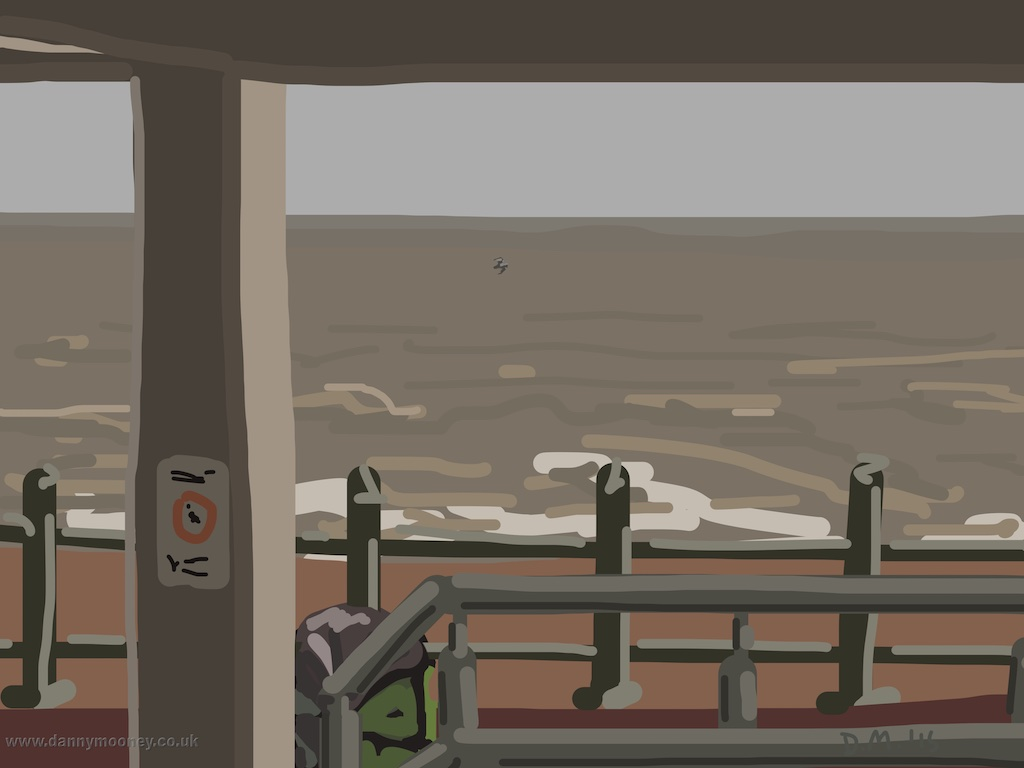 Danny Mooney 'Railings and sea, 28/3/2015' iPad painting #APAD
