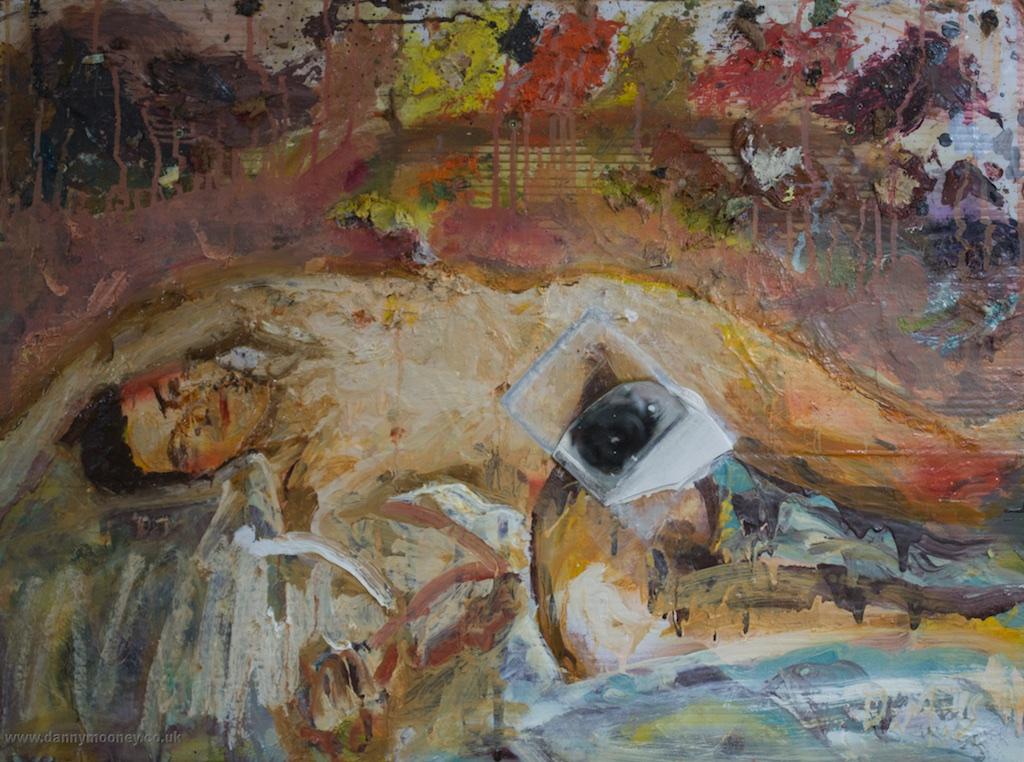 Danny Mooney 'In the nip' Mixed media on plastic panel 52.5 x 70.5 cm