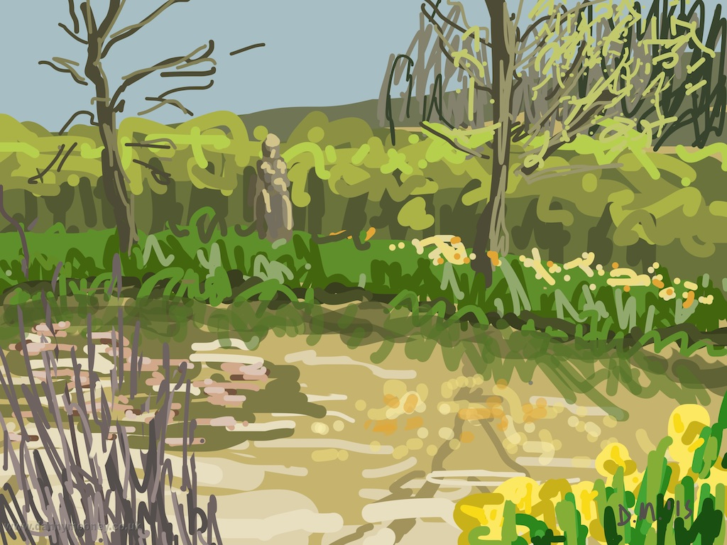 Danny Mooney 'Pond at Charleston, 8/4/2015' iPad Painting #APAD
