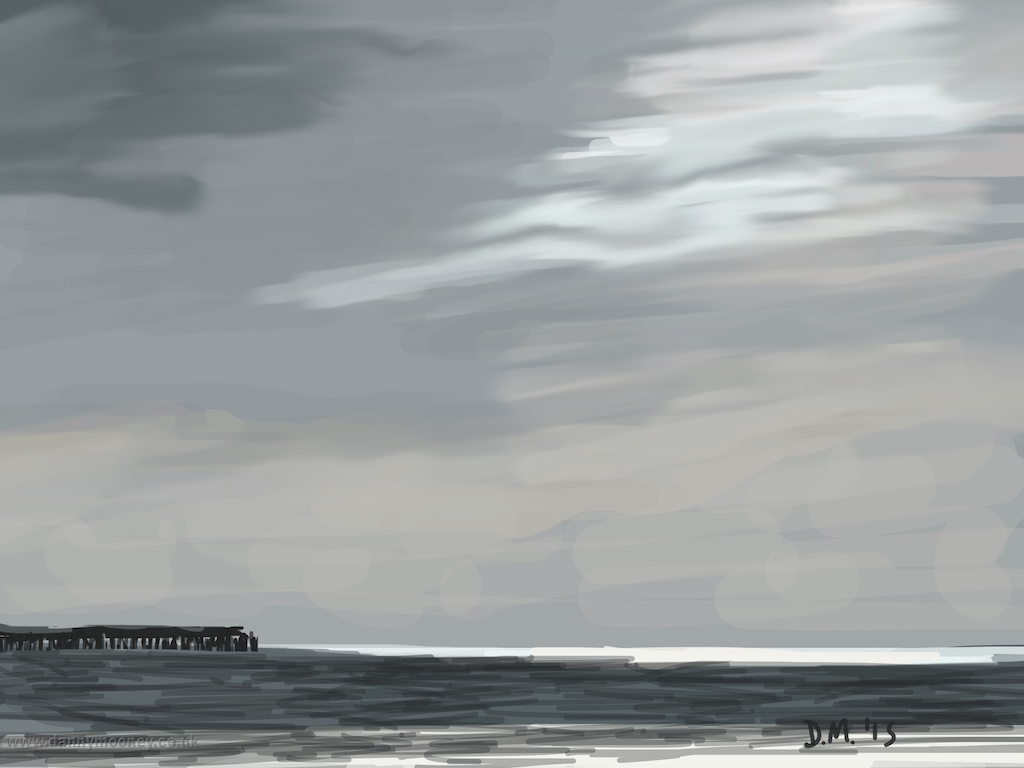 Danny Mooney 'Stormy Pier, 17/4/2015' iPad Painting #APAD