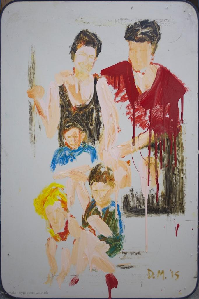 Danny Mooney 'Family Portrait' Mixed media on panel 90 x 60 cm