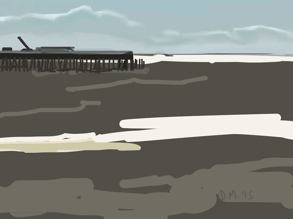 Danny Mooney 'Dirty grey sea, 27/7/2015' iPad painting #APAD