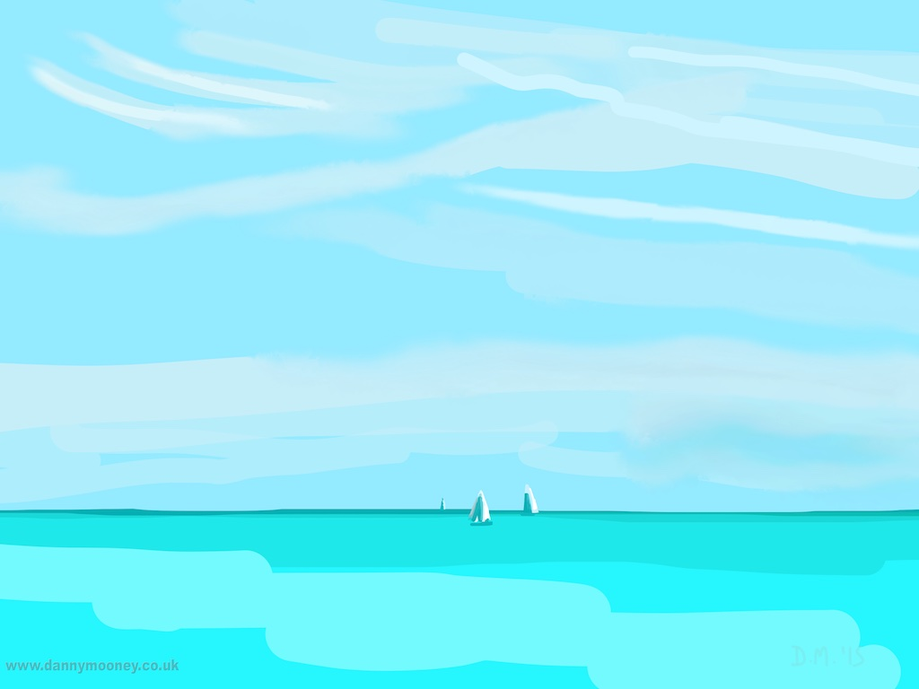 Danny Mooney 'Bright blue sea and sails, 31/7/2015' iPad painting #APAD