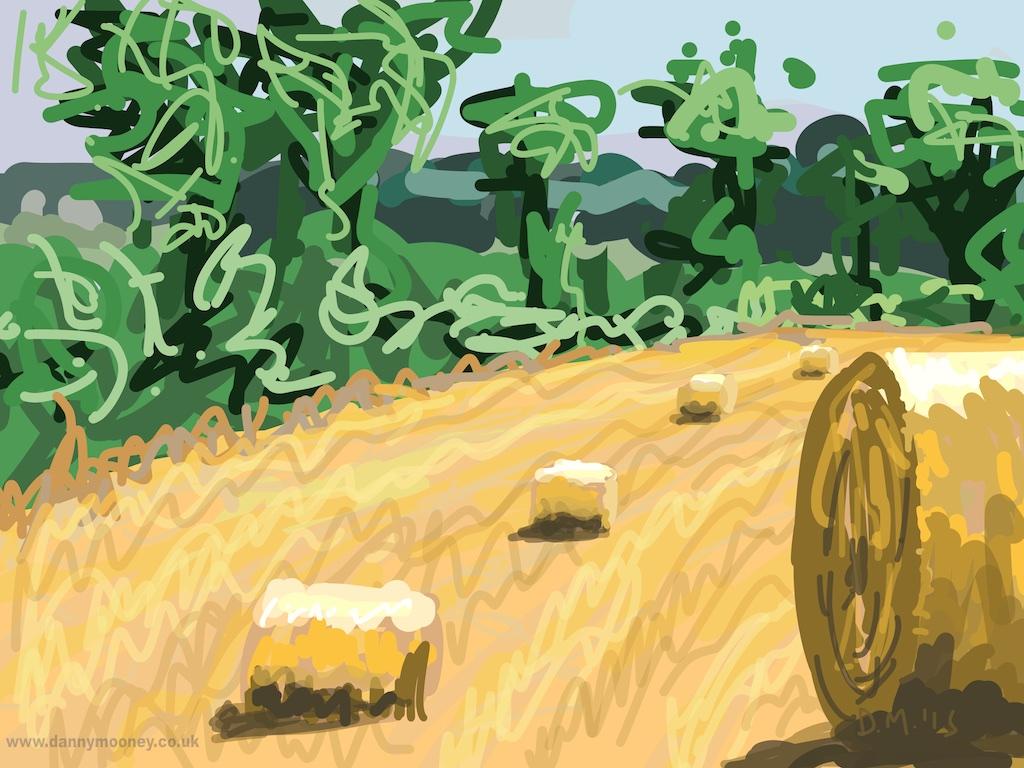Danny Mooney 'Hay bales, 5/8/2015' iPad painting #APAD