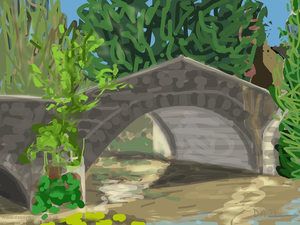 Danny Mooney 'Le vieux pont de Léhon, 9/8/2015' iPad painting #APAD