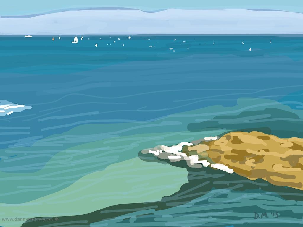 Danny Mooney 'Rocks, St Malo, 7/8/2015' iPad painting #APAD