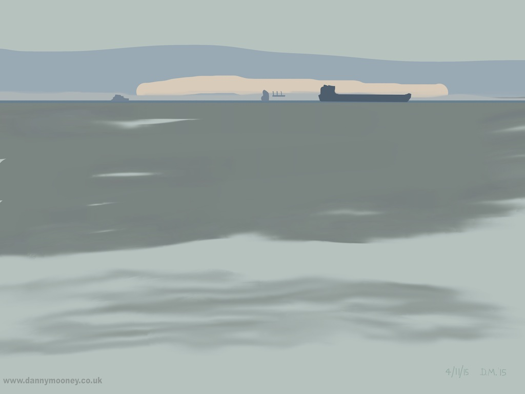 Danny Mooney '3 Ships, Orange cloud, 4/11/2015' iPad painting #APAD
