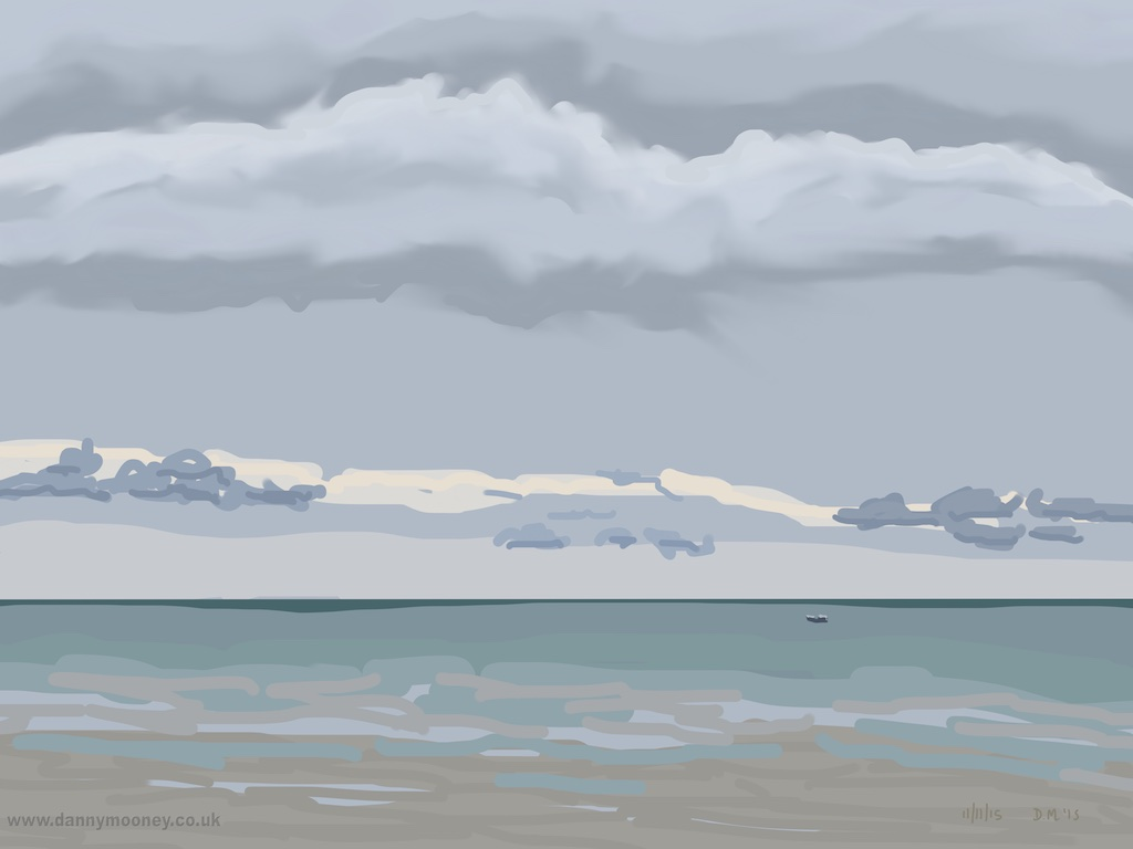 Danny Mooney 'Blue clouds, boat, 11/11/2015' iPad painting #APAD