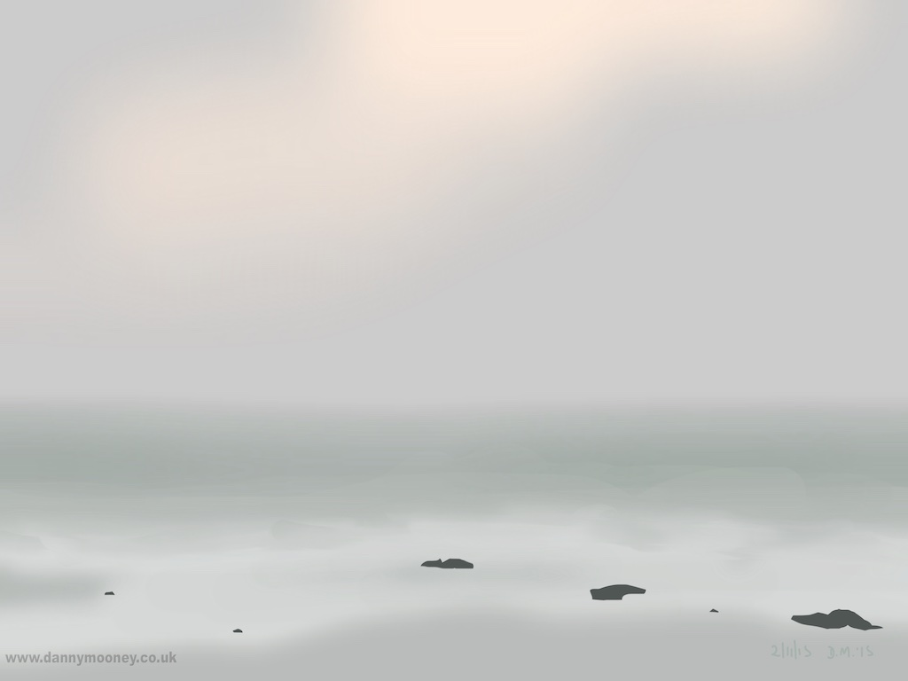 Danny Mooney 'Sea fret and rocks, 2/11/2015' iPad painting #APAD