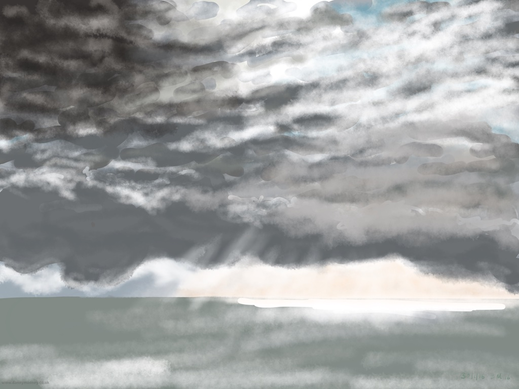 Danny Mooney 'Clouds, 30/1/2016' iPad painting #APAD